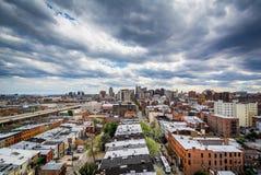 Mening van gebouwen in Mount Vernon, Baltimore, Maryland stock foto's
