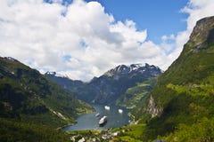 Mening van Geiranger fjord, Noorwegen Stock Afbeeldingen