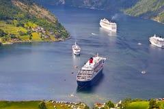 Mening van Geiranger fjord, Noorwegen Royalty-vrije Stock Foto