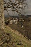 Mening van Geschiedenis castel museum van Bern van Rosengarten op zonsondergang zwitserland Royalty-vrije Stock Afbeeldingen