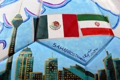 Mening van geschilderd baldetail De ventilatorstreek van Mexico tijdens aan de wereldbeker Rusland 2018 van FIFA Kleurenfoto stock afbeelding