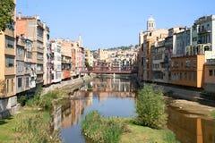 Mening van Girona in Spanje Stock Afbeeldingen