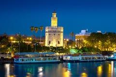 Mening van Gouden Toren, Torre del Oro, van Sevilla, Andalusia, Spai Stock Foto