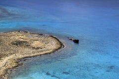 Mening van Gramvousa-eiland op schipwrak dichtbij aan Balos Kreta Griekenland Royalty-vrije Stock Foto's