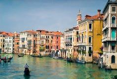 Mening van Grand Canal met Gondels, Venetië, Italië Stock Foto's