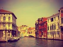 Mening van Grand Canal in Venetië, gestemde wijnoogst Royalty-vrije Stock Fotografie