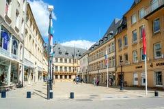 Mening van Groothertogelijk Paleis in de Stad van Luxemburg Stock Foto's