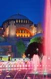 Mening van Hagia Sofia of Ayasofya bij nacht, Istanboel Stock Foto