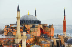 Mening van Hagia Sofia Mosque (Roze Moskee) in Istanboel, Turkije Stock Afbeelding