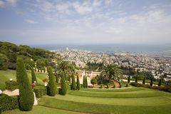 Mening van Haifa van tuinen Bahai'i Royalty-vrije Stock Foto's