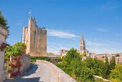 Mening van heilige-Emilion, Frankrijk Stock Foto's