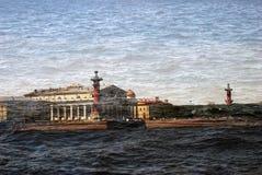 Mening van heilige-Petersburg stad, Rusland Artistieke collage Stock Afbeelding