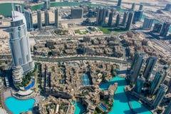Mening van het Adreshotel van Burj Al Khalifa, Doubai stock afbeeldingen