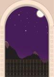 Mening van het balkon op een maanbeschenen nacht Stock Afbeelding