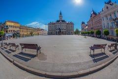 Mening van het belangrijkste vierkant in Novi Sad, Servië Stock Foto