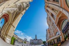 Mening van het belangrijkste vierkant in Novi Sad, Servië Royalty-vrije Stock Afbeeldingen