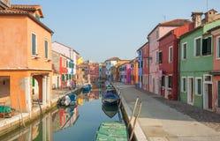 Mening van het Burano-eiland, Venetië Stock Foto