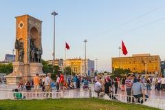 Mening van het centrale Taksim-Vierkant in Istanboel, Royalty-vrije Stock Afbeelding