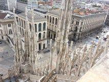 Mening van het dak van Milan Cathedral Stock Afbeelding