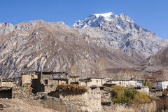 Mening van het dorp Purang rond Muktinath Royalty-vrije Stock Foto