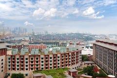 Mening van het eiland Sentosa en commerciële haven van Singapore Royalty-vrije Stock Fotografie