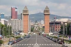 Mening van het gebied van Spanje in de middag in Barcelona stock fotografie