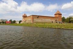 Mening van het Gediminas-Kasteel van het meer lida wit-rusland royalty-vrije stock foto's