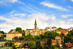 Mening van het historische centrum van Belgrado Stock Foto's