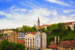 Mening van het historische centrum van Belgrado Royalty-vrije Stock Afbeelding