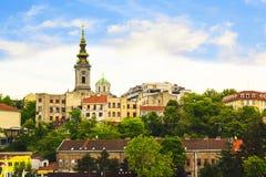Mening van het historische centrum van Belgrado, Servië Stock Fotografie