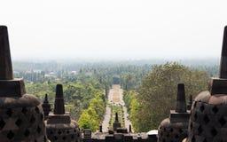 Mening van het hoogste niveau van Borobudur-tempel, Java, Indonesië Stock Foto