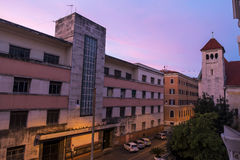 Mening van het hotel bij zonsopgang Royalty-vrije Stock Foto
