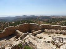 Mening van het kasteel van Ajloun Stock Foto's