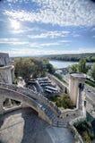 Mening van het kasteel van Avignon in Frankrijk Stock Afbeeldingen