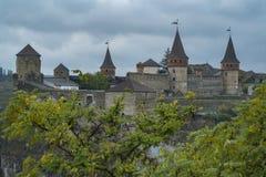 Mening van het Kasteel van kamianets-Podilskyi in de Westelijke Oekraïne Stock Afbeelding