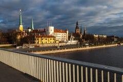 Mening van het kasteel van Riga stock afbeeldingen