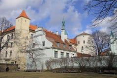 Mening van het kasteel van Riga Het kasteel is een woonplaats voor een president van Letland (Oude Stad, Riga, Letland) stock afbeeldingen