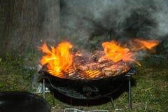Mening van het koken van vers vlees bij de barbecue van de klusjessteenkool het branden in vlam stock fotografie