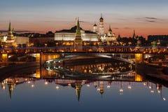 Mening van het Kremlin bij dageraad moskou Royalty-vrije Stock Foto's