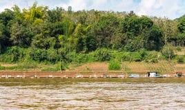 Mening van het landschap van de rivier Nam Khan, Luang Prabang, Laos Exemplaarruimte voor tekst stock afbeelding