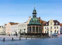 Mening van het Marktvierkant in de Oude Stad van Wismar Stock Foto