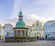 Mening van het Marktvierkant in de Oude Stad van Wismar Royalty-vrije Stock Afbeeldingen