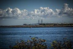 Mening van het overzees en de Oresund-brug Royalty-vrije Stock Afbeeldingen