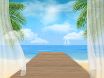 Mening van het overzeese strand en de houten pier stock illustratie