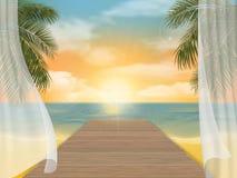 Mening van het overzeese strand op zonsondergang en pier stock illustratie