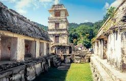 Mening van het Paleis, Palenque Unesco-Werelderfenis, Chiapas stock foto's