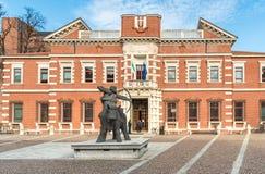 Mening van het Paleis van Rechtvaardigheid, Hof in centrum van Varese, Italië Royalty-vrije Stock Foto