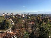 Mening van het Roman theater van Plovdiv stock foto