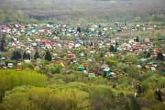 Mening van het Russische dorp Stock Foto