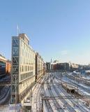 Mening van het sneeuwrangeerstation in de mooie dag van Stockholma Stock Fotografie
